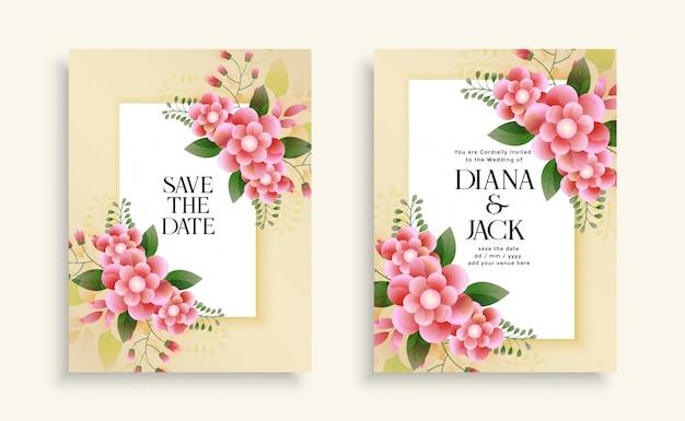 美しい結婚式の花の招待カードテンプレート