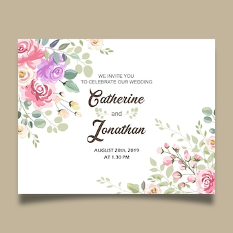 Beautiful wedding floral invitation