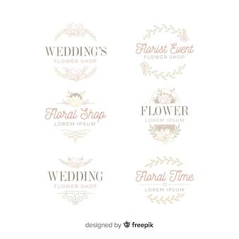 美しい結婚式の花屋のロゴ