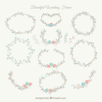 Beautiful wedding frames with blue and red flowers