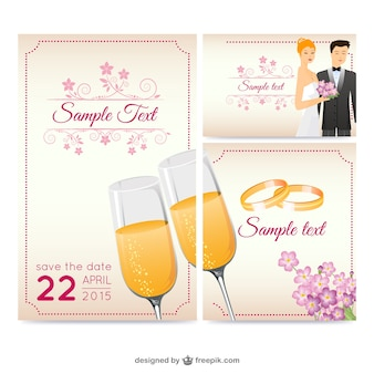 Beautiful wedding greeting card   vector Free Vector