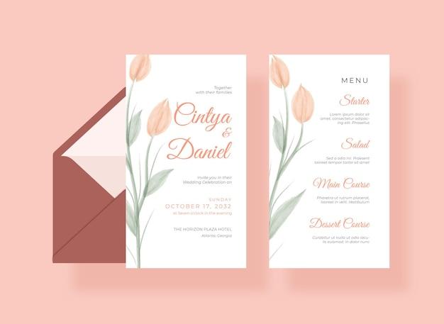 美しい結婚式の招待状とメニュー カード テンプレート