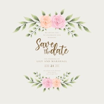 黄金の手作りの花と美しい結婚式の招待状の背景