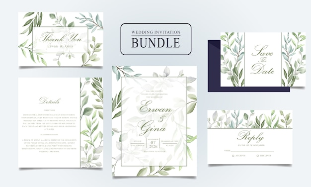 Beautiful wedding invitation card bundle with watercolor leaves