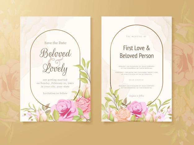 아름 다운 결혼식 초대 카드 꽃 컨셉 템플릿