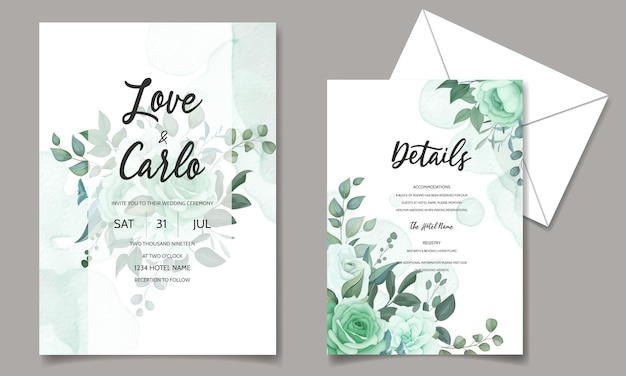 Beautiful wedding invitation card floral ornament