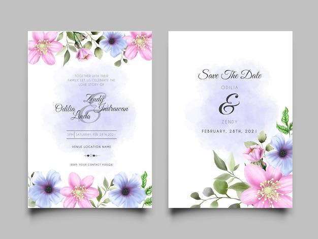 Beautiful wedding invitation card set floral watercolor