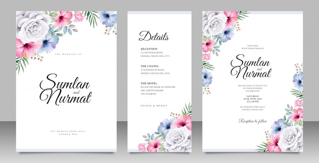 Beautiful wedding invitation card set template with colorful floral