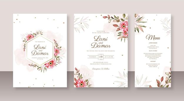 花の水彩画と美しい結婚式の招待カードセットテンプレート