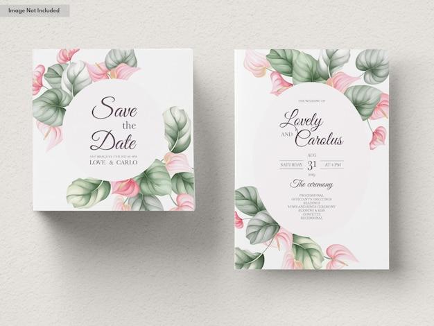 아름 다운 결혼식 초대 카드 세트 템플릿