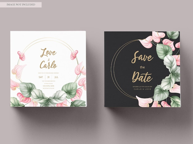 Beautiful wedding invitation card set template