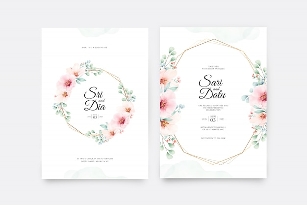 Beautiful wedding invitation card set with floral on golden geometric