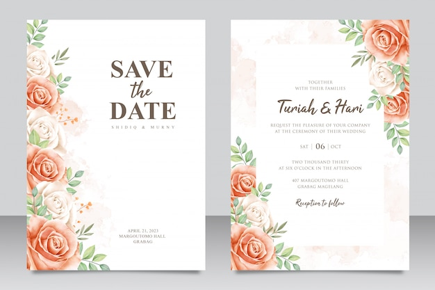 Beautiful wedding invitation card set with flowers and leaves watercolor