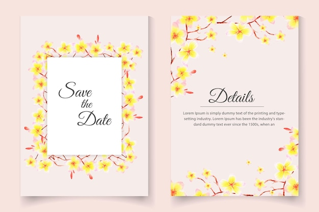 Beautiful wedding invitation card set with watercolor floral set