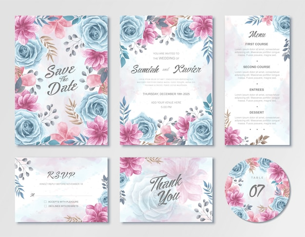 Beautiful wedding invitation card template set with blue and pink watercolor flowers