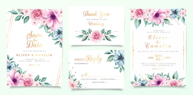 Beautiful wedding invitation card template set with colorful flowers border and gold line decoration