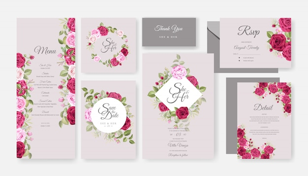 Beautiful wedding invitation card template set with floral design
