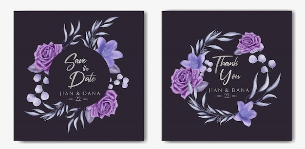 Beautiful wedding invitation card template set with floral frame on black paper