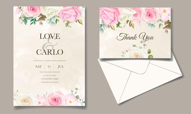 꽃 프레임 설정 아름 다운 결혼식 초대 카드 템플릿