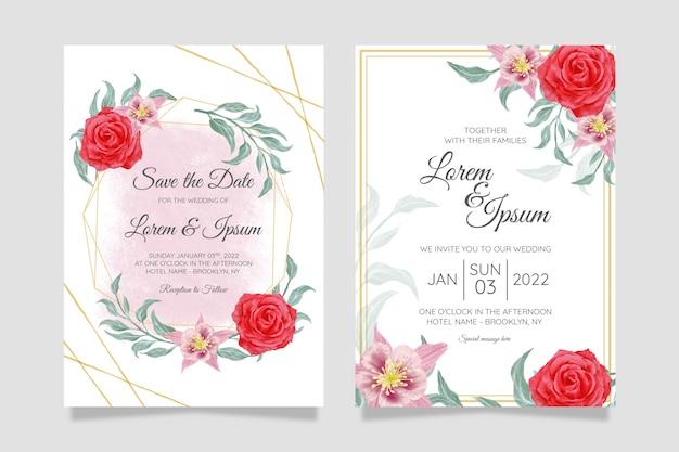Красивый шаблон свадебного приглашения с золотой геометрической рамкой