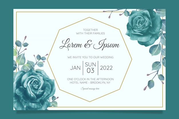 Beautiful wedding invitation card template set with geometric floral frame