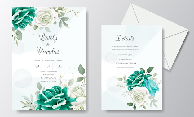 Beautiful wedding invitation card template set with greenery floral leaves and gold frame