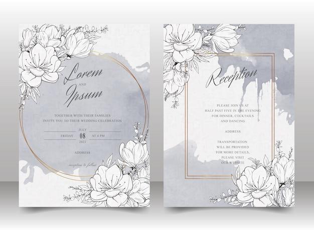 Красивая свадьба пригласительный билет набор шаблонов с ручной обращается цветочные и акварель фон заставки
