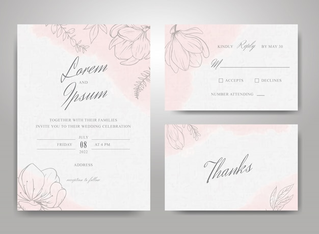 Beautiful wedding invitation card template set with hand drawn floral  and watercolor splash background