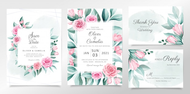 Beautiful wedding invitation card template set with soft watercolor flowers decoration