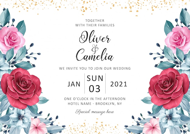 Beautiful wedding invitation card template set with watercolor floral decoration and gold glitter