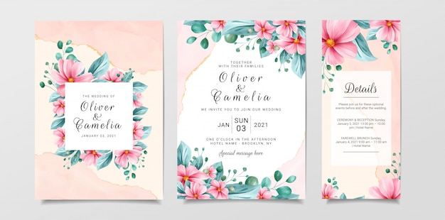 Beautiful wedding invitation card template set with watercolor floral and marble background