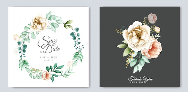 Beautiful  wedding invitation card template set with watercolor flowers
