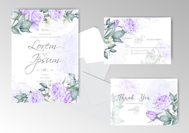 아름 다운 결혼식 초대 카드 템플릿 세트