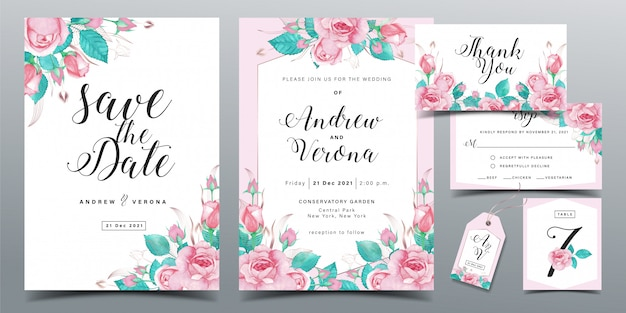 Beautiful wedding invitation card template in soft pink color theme with pink roses watercolor decoration