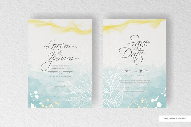 Beautiful wedding invitation card template with abstract watercolor splash   and abstract hand drawn dynamic fluid