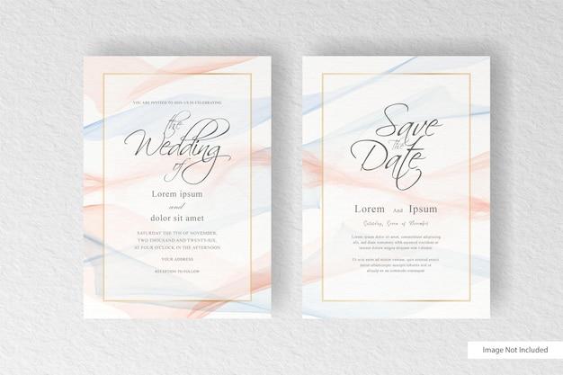 추상 수채화 스플래시와 추상 손으로 그려진 동적 유체와 아름 다운 결혼식 초대 카드 템플릿