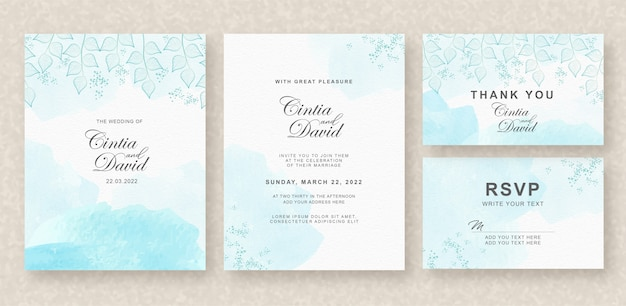 Beautiful wedding invitation card template with blue splash background and floral watercolor