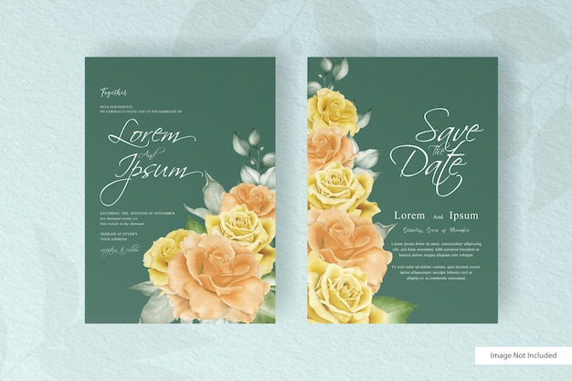 Красивые свадебные приглашения карты шаблон с цветочными и листьями
