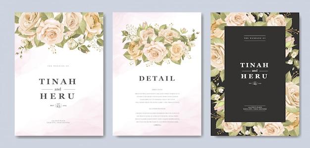 Красивый шаблон свадебного приглашения с цветочным и листьями