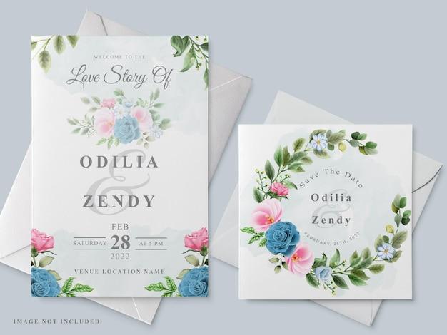 花の手描きの美しい結婚式の招待カードテンプレート