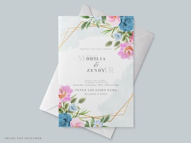 Красивый шаблон свадебного приглашения с цветочным рисунком
