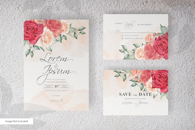 Beautiful wedding invitation card template with floral and leaves