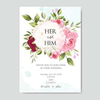 꽃 잎이 아름 다운 결혼식 초대 카드 템플릿