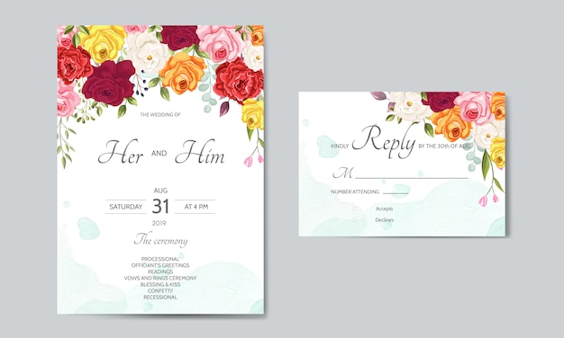Beautiful wedding invitation card  template with floral leaves