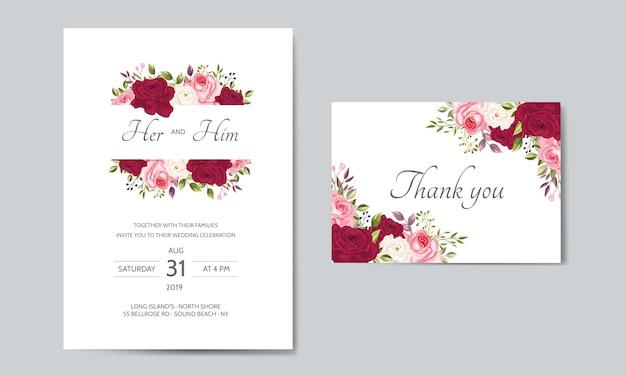 花葉を持つ美しい結婚式の招待カードテンプレート