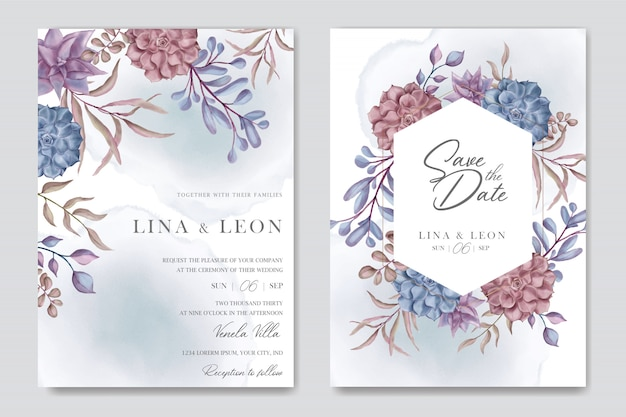 Beautiful wedding invitation card template with floral succulent background