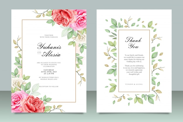 Beautiful wedding invitation card template with flowers and leaves watercolor