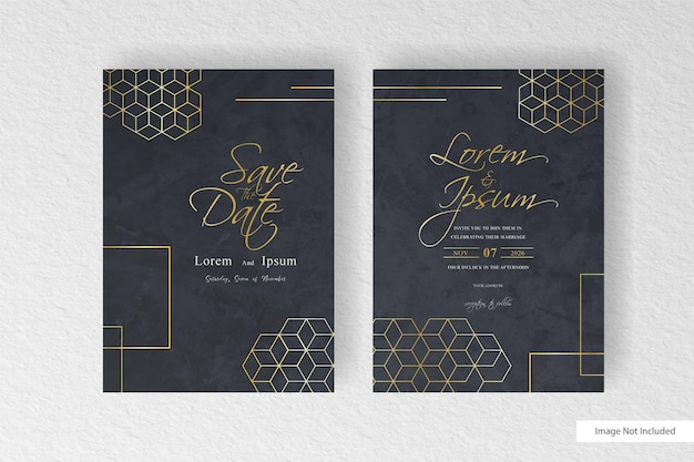 Beautiful wedding invitation card template with geometric golden shapes