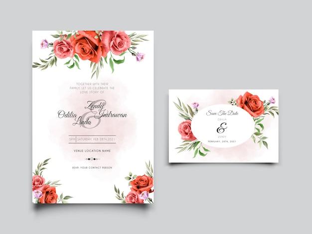 手描きの赤いバラのデザインと美しい結婚式の招待カードテンプレート