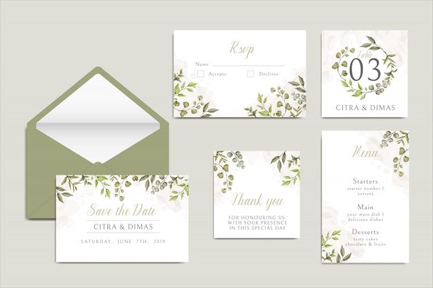 Beautiful wedding invitation card template with leaves set bundle
